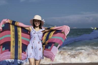 枸杞岛偶遇美女模特,大王沙滩摄影